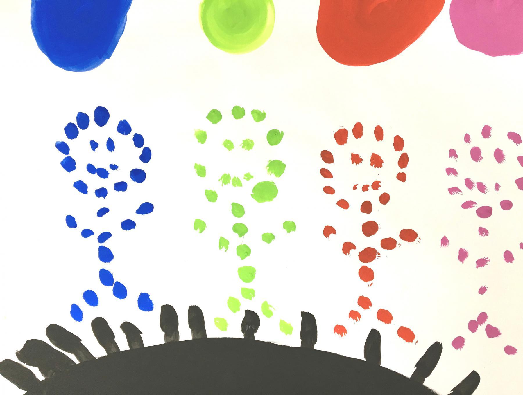 Kinder farbige Punkte